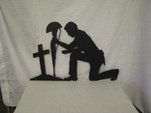 Soldier Praying Silhouette Metal Wall Art