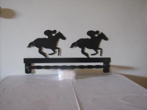 And They're Off Horse Racing Metal Silhouette Wall Art Towel Rack