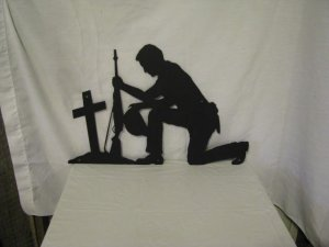 Soldier Praying Hat in Hand Metal Wall Art Silhouette