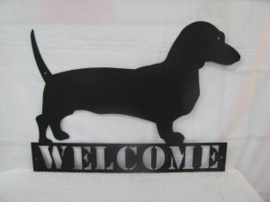Dachshunds Welcome Metal Silhouette Wall Art