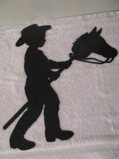 Boy on Stick Pony Western Metal Wall Art Silhouette
