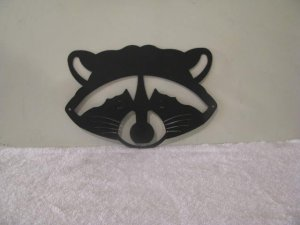 Raccoon Face Metal Silhouette Wildlife Wall Art
