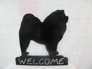 Chow Welcome Metal Wall Art Silhouette