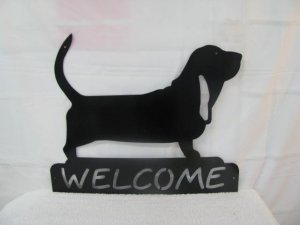 Basset Hound Welcome Metal Wall Art Silhouette