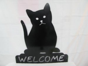Cat 004 Welcome Metal Wall Art Silhouette