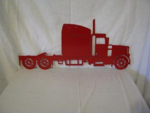 Red Semi Truck Metal Wall Art Silhouette