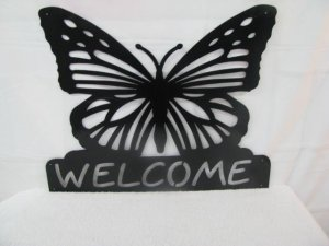 Butterfly Welcome Metal Wall Art Silhouette
