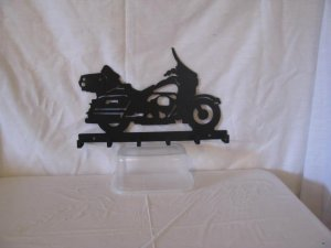 Motorcycle 003 Key Ring Holder Metal Wall Art Silhouette