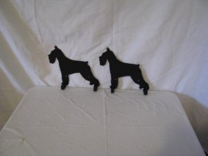 Schnauzer 2 Hook Leash Holder Metal Wall Art Dog Silhouette Set of 2