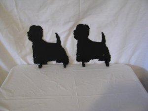 Westie 2 Hook Leash Holder Dog Metal Wall Art Silhouette Set of 2