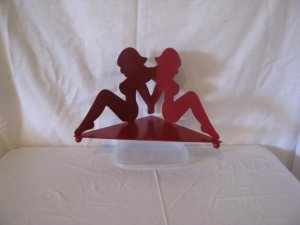 Red Hot Bikini Girl Candle Holder Metal Art Silhouette