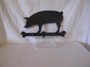 Pig Coat Rack 3 Hooks Metal Wall Art Silhouette