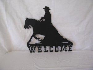 Reining Horse Welcome Western Wall Art Metal Silhouette