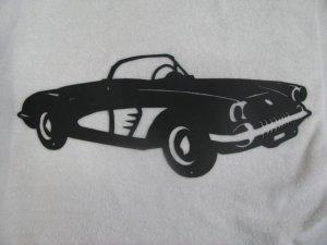 Classic Car 002 Silhouette Metal Wall Art