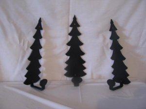 Tree Towel/Coat Rack Metal Wall Art Silhouette Set of 3