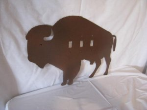 Buffalo Light Switch Cover  Metal Wall Art Western Silhouette