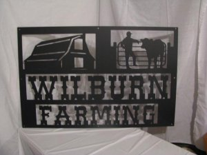 Custom Farm Sign 40  in x 26 in Metal Wall Art Silhouette