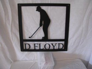 Golf Baseball Basketball Soccer Player Silhouette Sign with Name Metal Wall Art