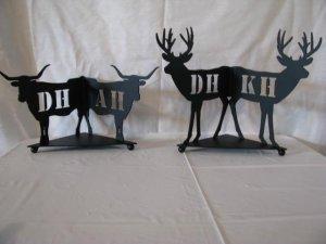 Wolf Bear Deer Steer Candle Reflector Set of (2) Metal Wall Art Silhouette