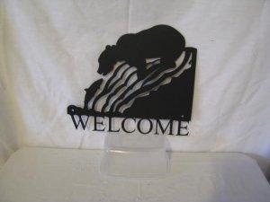 Bear 005 Welcome Small Metal Wall Art Silhouette