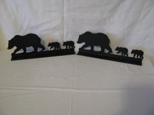Bear 004 Mailbox Topper Metal Wall Art Wildlife Silhouette Set of 2