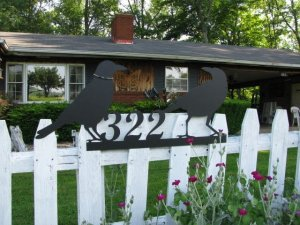 Two Old Crows Address Sign Metal Wall Art Silhouette