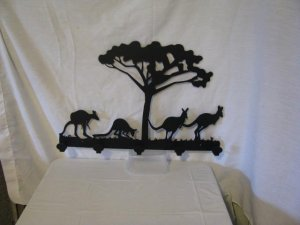 Kangaroo 5 Hook Coat Rack Metal Wildlife Wall Art Silhouette
