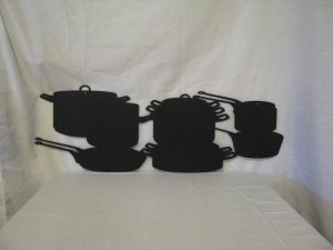 Pots and Pans Metal Wall Art Silhouette