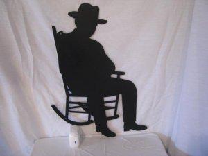 Oldtimer in Rocking Chair Metal Wall Art Silhouette