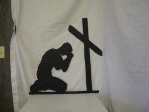Man Praying at Cross Metal Wall Art Silhouette