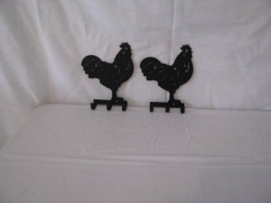 Rooster Key Holder Set (2) Metal Wall Art Silhouette
