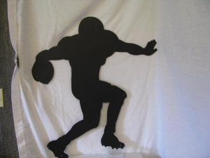 Football Player 001 Metal Wall Art Silhouette Sports
