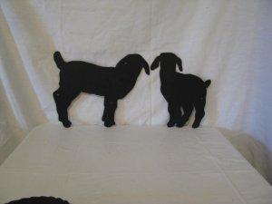 Babies Goat Kids Set 0f 2 Metal Farm Wall Art Silhouette