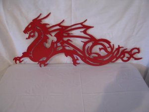 Dragon 001 Metal Wall Art Silhouette Red