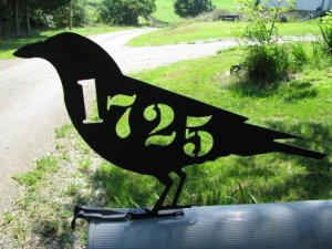 Raven Crow Mailbox Topper Metal Wall Art Wildlife Silhouette