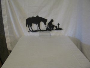 Praying Cowboy with Horse Small Metal Western Wall Art Silhouette
