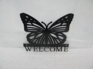 Butterfly Welcome Small Metal Wall Art Silhouette