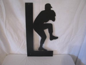 Baseball Pitcher with Name Metal Wall Art Silhouette