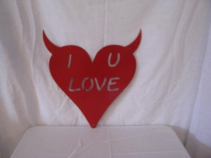Valentine Naughty Heart Metal Wall Art Silhouette Red