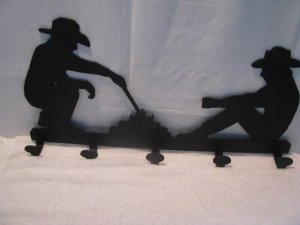 Cowboys at the Campfire Coat Rack Metal Silhouette Western Wall Art