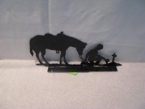 Cowboy Praying Mailbox Topper Metal Art Silhouette