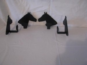 Horse Head Coat Hook Metal Western Wall Art Silhouette Set (4)