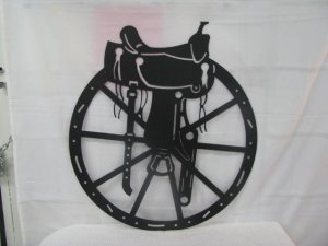 Sadldle and Wheel Silhouette Western Metal Wall Art