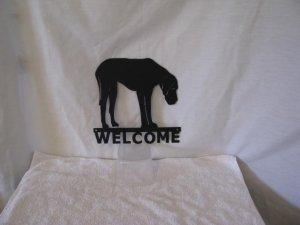 Great Dane Welcome Metal Dog Wall Yard Art Silhouette