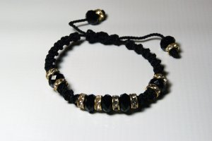 Black with Golden Pewter and Swarovski Crystals Thread Bracelet