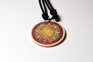 Aztec Sun Necklace Stone Purple, Green, Orange Pendant