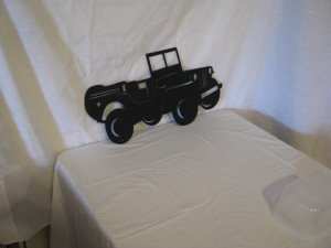 WWII Army Jeep Small Metal Wall Yard Art Silhouette