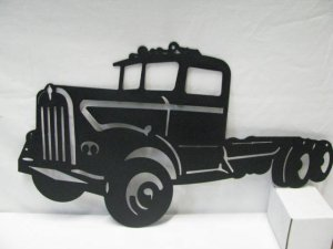 "60'""s Kenworth Semi Truck Metal Wall Art Silhouette"