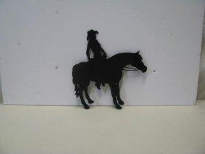 Horse Riding 001 Western Metal Art Silhouette