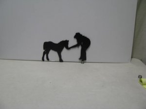 Cowgirl Pony Western Metal Wall Yard Art Silhouette